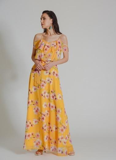 People By Fabrika Çiçekli Abiye Elbise Sarı